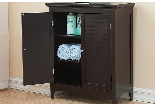 dark espresso wood corner bathroom cabinet