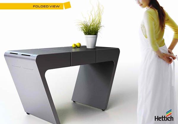 Accordion folding kitchen table transforms like a fan - Table pliante cuisine ...