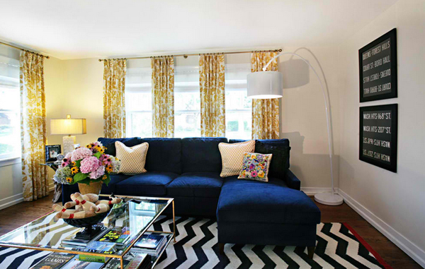 20 Amazing Blue Black White Yellow Living Rooms Home