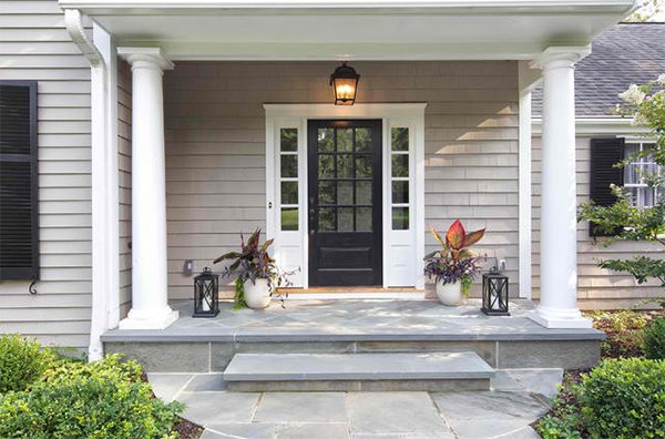 Before and after photos of a modernized 1970s new jersey for Colonial entry door