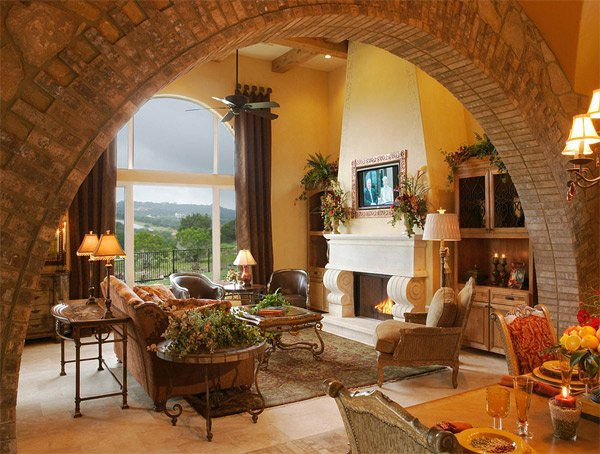 drapes fireplace