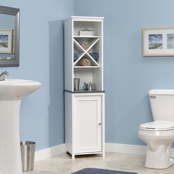 linen tower corner bathroom - 20 Corner Cabinets To Make A Clutter-Free Bathroom Space Home