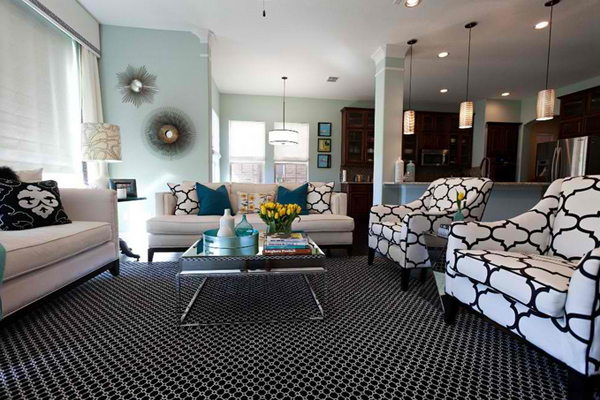 20 amazing blue black white yellow living rooms home design lover Black white blue living room