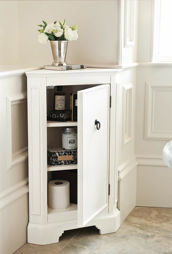 white corner bathroom storage - 20 Corner Cabinets To Make A Clutter-Free Bathroom Space Home