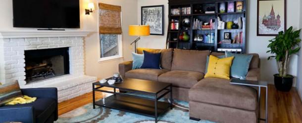 astonishing blue yellow living room | 20 Amazing Blue Black White Yellow Living Rooms | Home ...