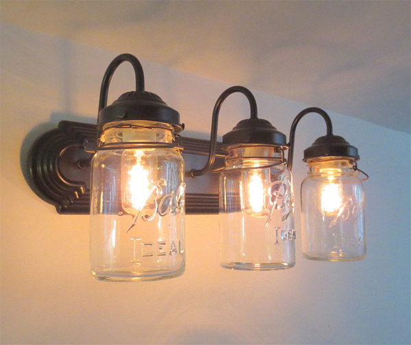 Unique Mason Jar SCONCE Lighting Fixture With Vintage Pint By LampGoods