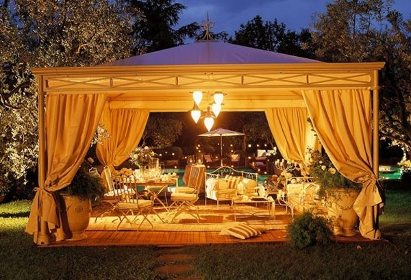 Good 13. Romantic Outdoor Gazebo Design With Lighting