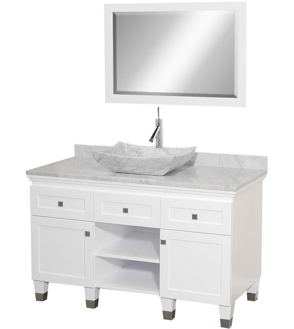 vanover white undermount single sink bathroom vanity with natural marble top ashen cultured antique premiere