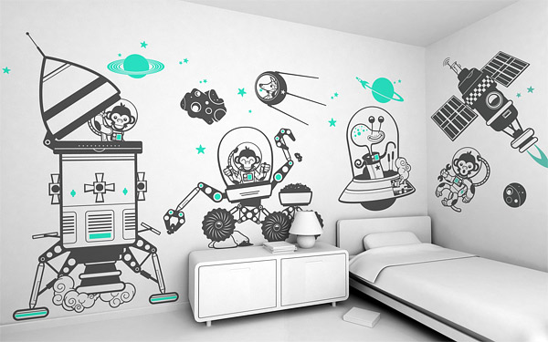20 cute wall decals and murals for kids bedroom home. Black Bedroom Furniture Sets. Home Design Ideas