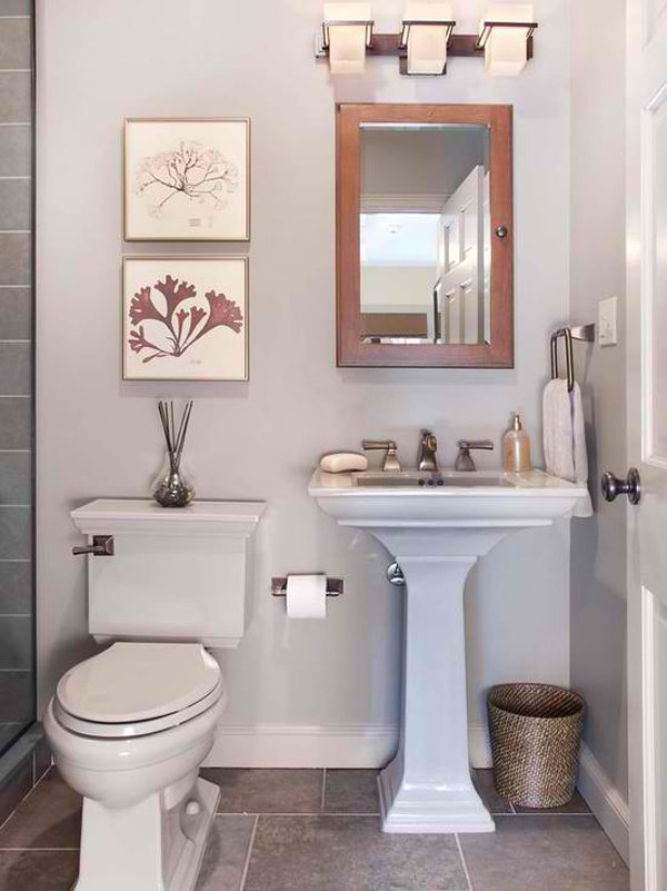 20 fascinating bathroom pedestal sinks home design lover for Tiny bathroom decor