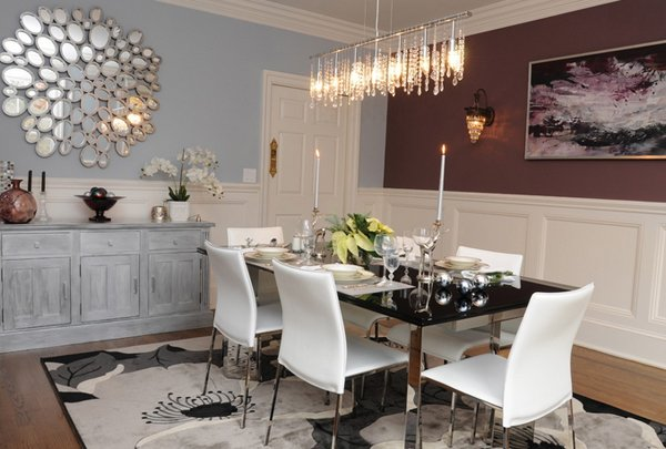 20 lovely dining room with stunning mirrors home design for Modern mirrors for dining room