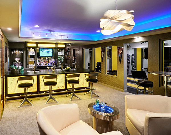 20 man cave finished basement designs you 39 ll totally envy for Interior bar designs residential