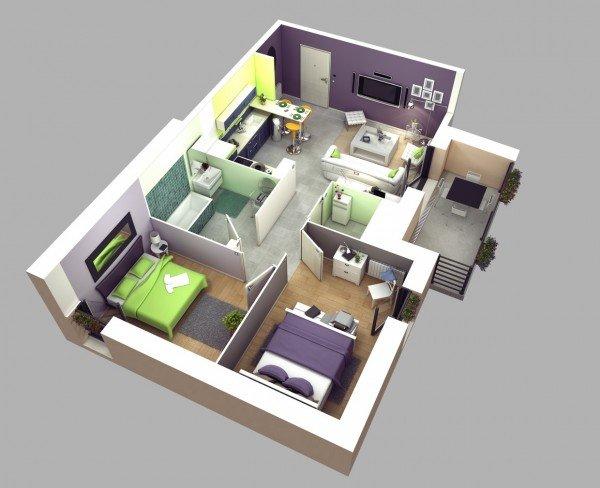 Modern Design20 Interesting Two Bedroom Apartment Plans Home Design Lover