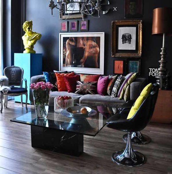 20 pop decorating ideas for the living room home design for Artistic living room ideas