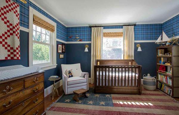 Bức tường màu xanh Mist làm cho căn phòng ngủ của bé mát mẻ