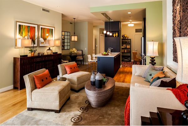 contemporary living room looked fab with colors of fall seen on the