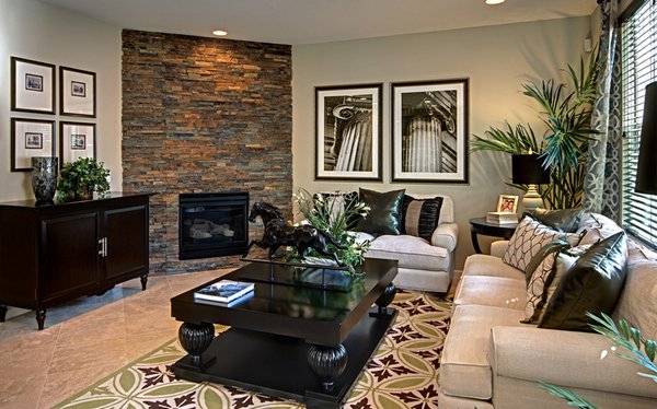 Living Room With Corner Fireplace And Tv