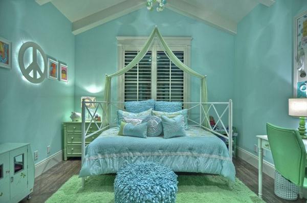 Kết quả hình ảnh cho phòng ngủ màu xanh bạc hà