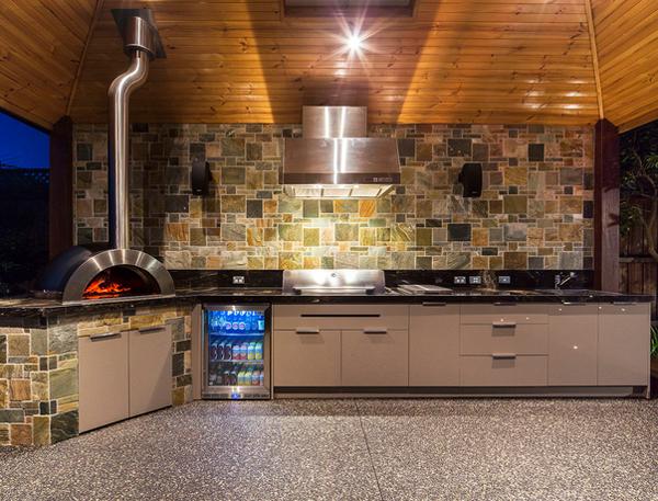 Wohnzimmer Kuche Kombinieren : Outdoor Kitchen Grill Pizza Oven