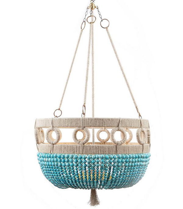 turquoise beaded bowl chandelier