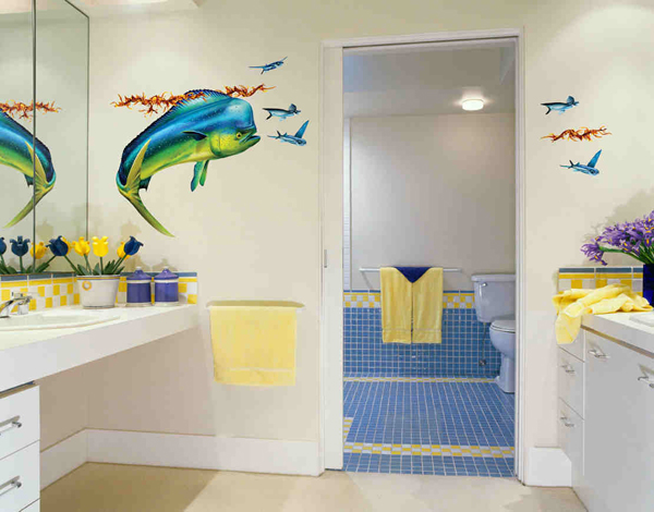 creative bathroom wall decals  home design lover, Bathroom decor