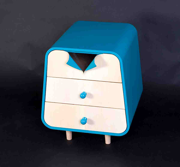 blue bed side table