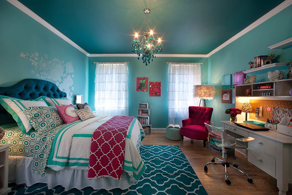20 bedroom paint ideas for teenage girls home design lover for Aqua bedroom ideas