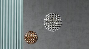 Elaine Lamp Comprised of Tea Lights and Bulbs Forming a Ball