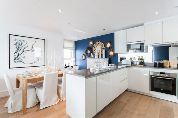 blue dining kitchen