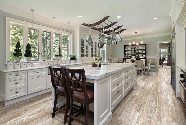 23 wooden finished porcelain tile kitchen floor | home design lover