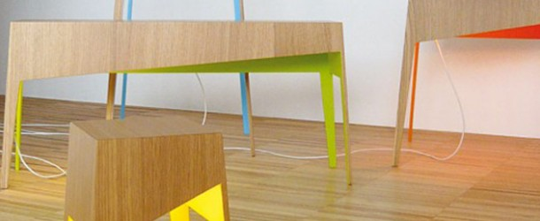 Fiss Family: Modern Wooden Tables with Burst of Color