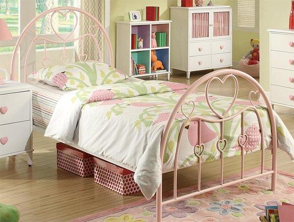 Juliette Twin Metal Bed with Pink Heart Motifs