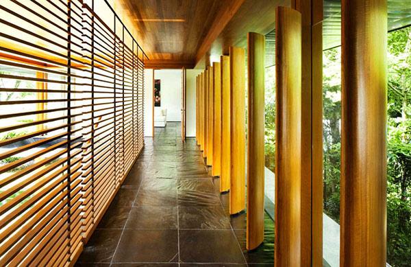 wood screens tile floor