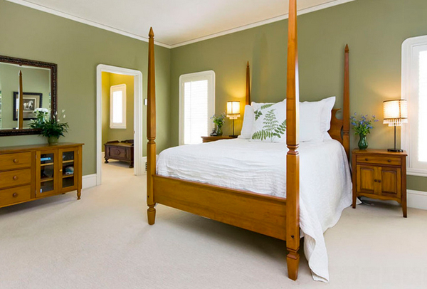 White and Green Bedroom design
