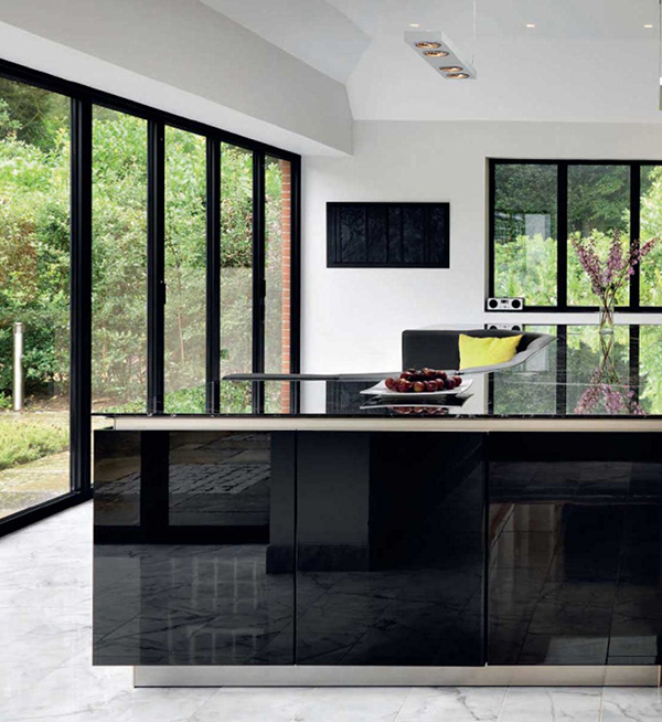 a high gloss stylish kitchen island with built in sofa kitchen islands kitchen island trends 2015 kitchen