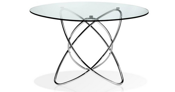 7 glass and chrome round dining table
