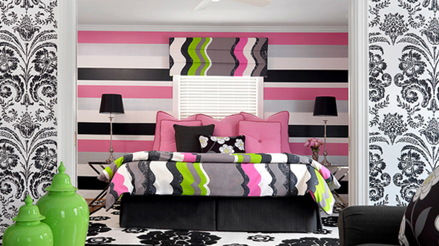 20 gorgeous pink and black accented bedrooms home design - White black and pink bedroom ...