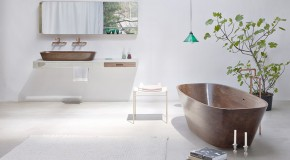 Walnut Shell Bathtub and Wash Basin for a Contemporary and Zen Bathroom