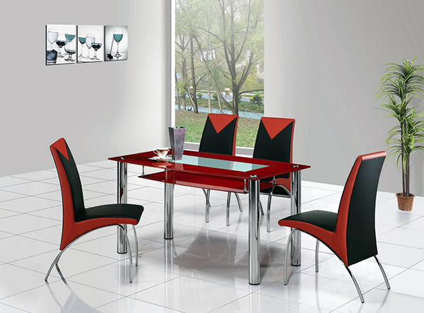 Compact Glass Dining Table Set