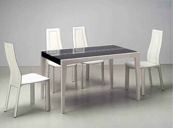 Glass Top Leather Modern Set