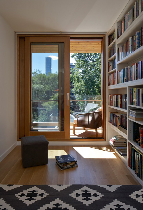 A look at the efficient light system in the three dormer for Mini library at home