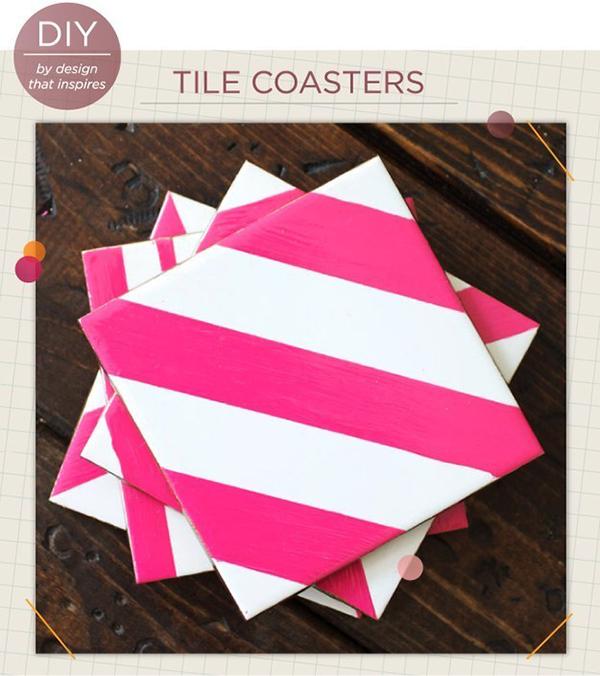 Painter's Tape Pattern Coasters