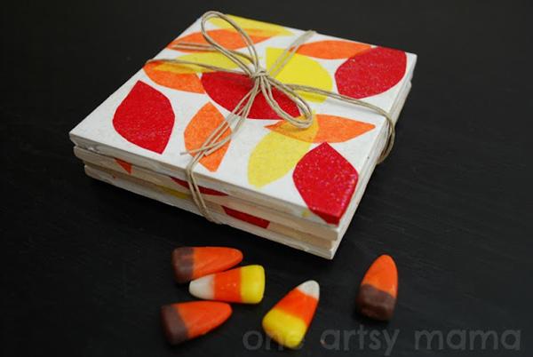 Mod Podge Fall Leaf Coasters