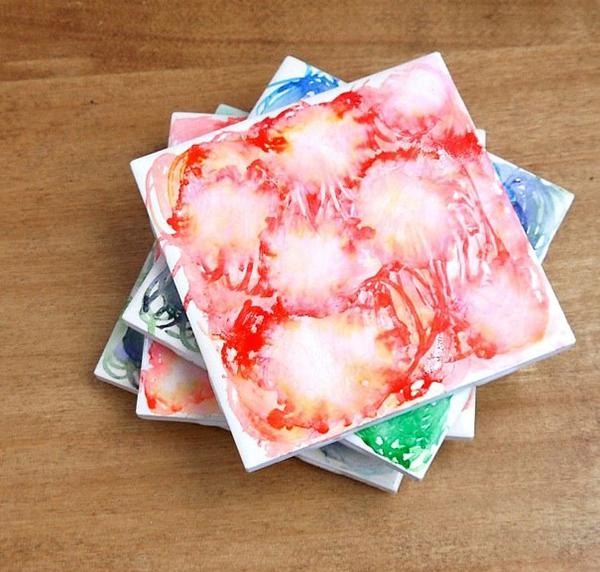 Faux Watercolor Coasters