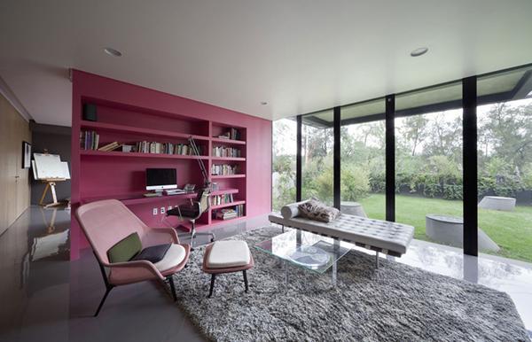 bookshelf built-in desk