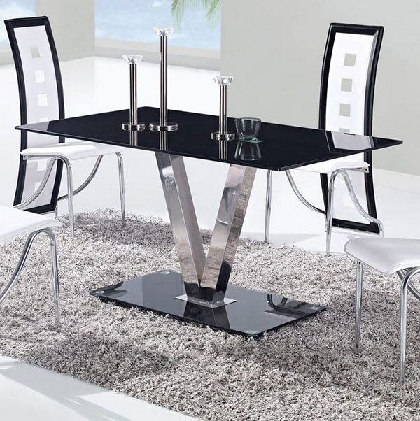 Glass Dining Tables with Stainless Steel Legs