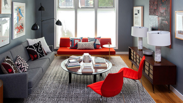 22 beautiful red sofas in the living room home design lover for Ajouter fenetre sous sol