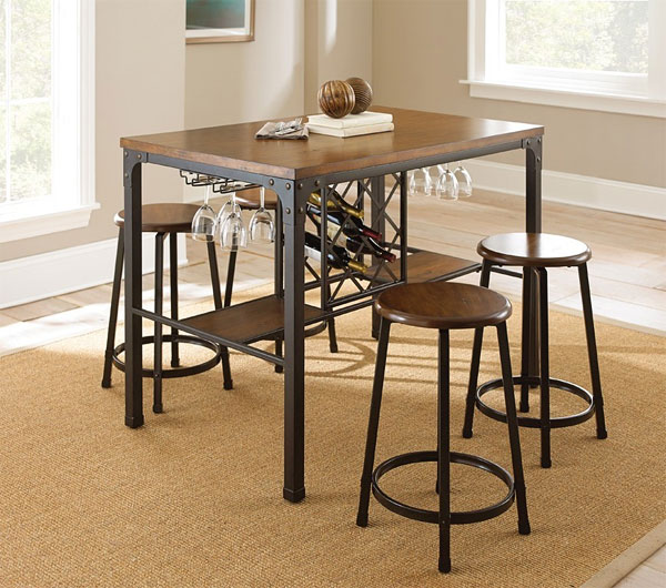 Counter Height Marquee 3-Piece Bar Set : This wine storage table exemplifies a functional industrial look ideal ...