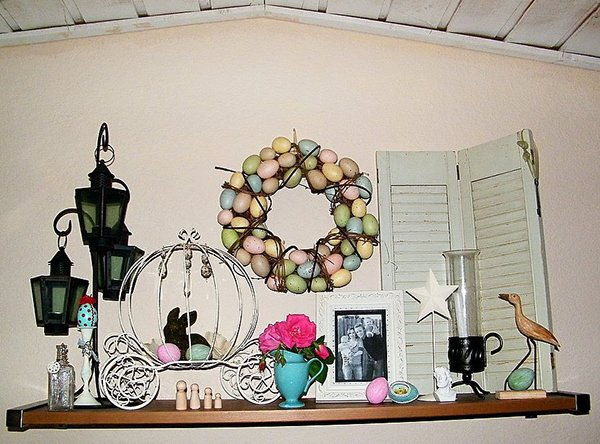 White and Bunny Easter Mantel