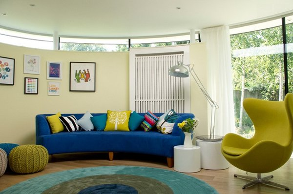 Impressive Blue Sofa In The Living Room Home Design Lover